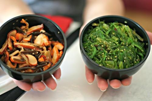 the wakame seaweed salad and the ika salad calamari salad