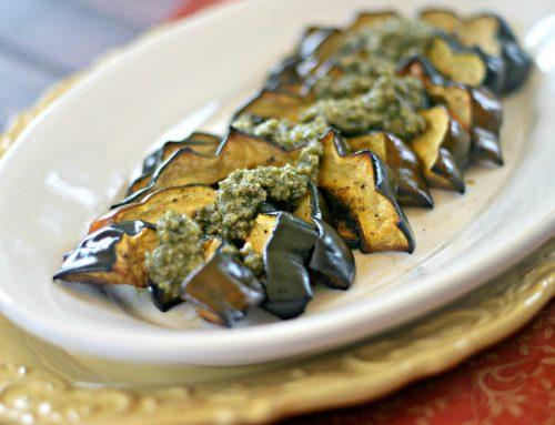 Roasted Acorn Squash Crescents with Sage Pecan Pesto