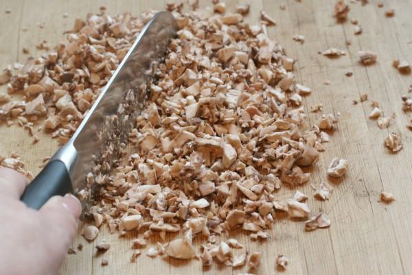 chop mushroom stems