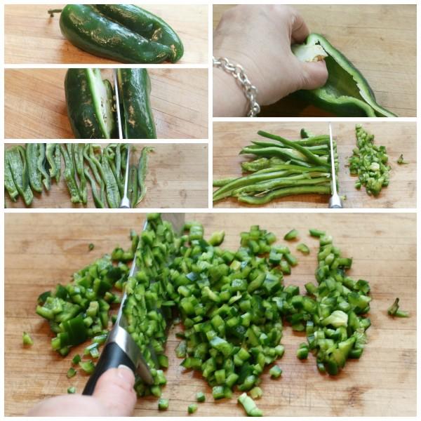 Poblano pepper chop
