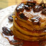 Pumpkin Pancakes With Maple Cinnamon Pecan Syrup