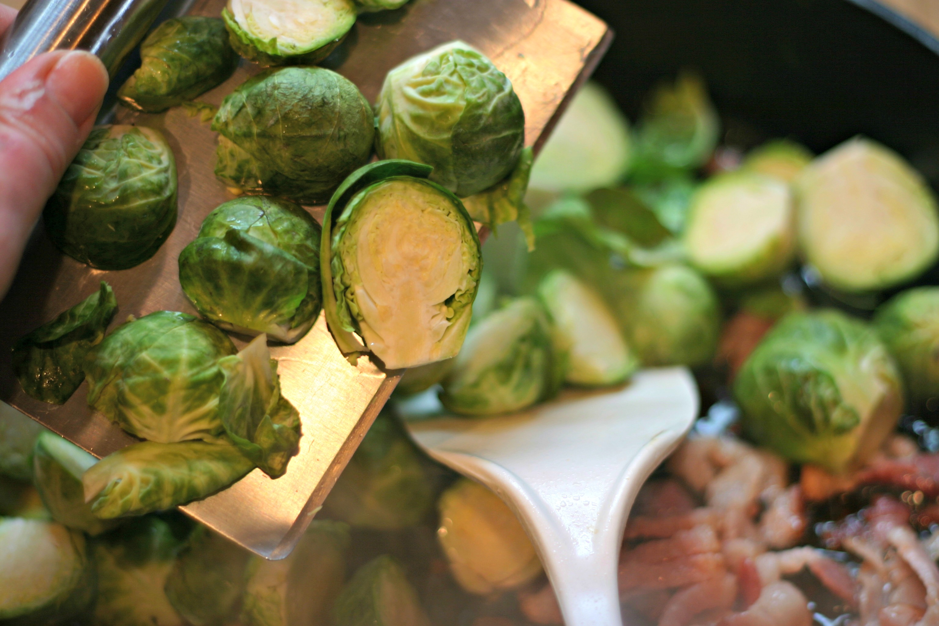 Brussels Sprouts With Bacon, Roasted Red Pepper And Pine ...