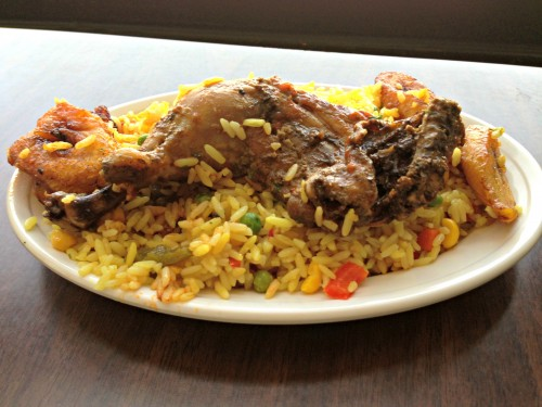 Mama Sinmi's Fried rice with chicken and plaintains