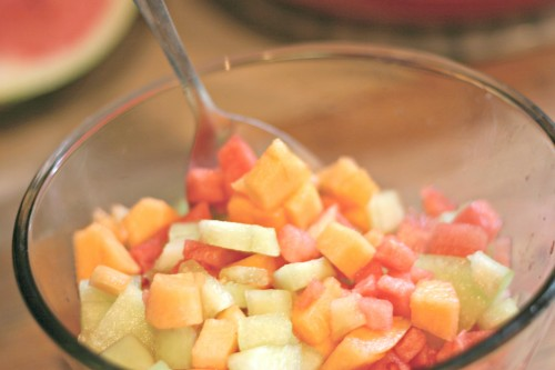 cantaloupe watermelon and honeydew