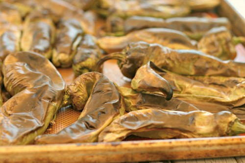Roast Hatch chile peppers