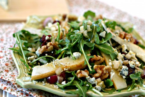 Pear walnut blue cheese arugula salad