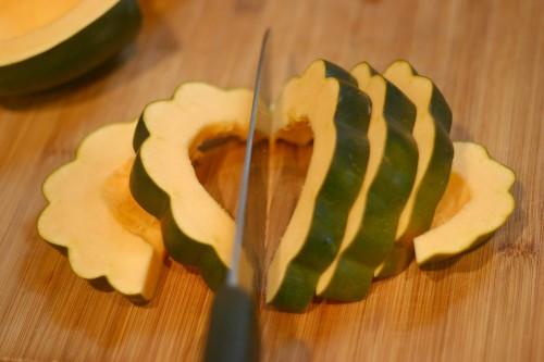 slice acorn squash