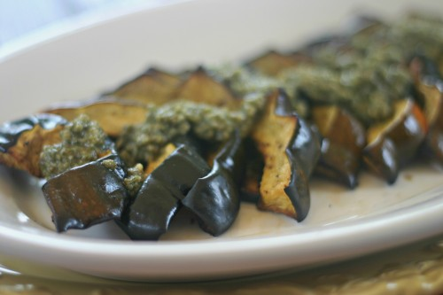 baked acorn squash with sage pesto