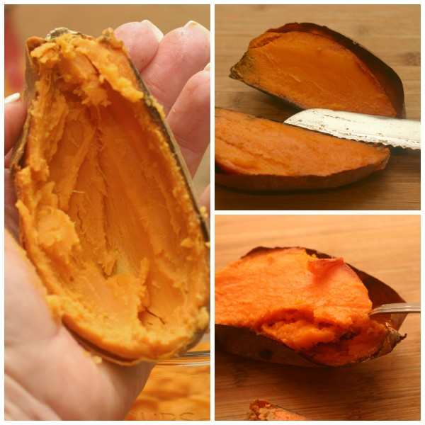 Scoop out twice baked sweet potatoes