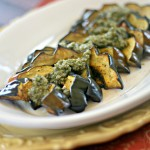 Roasted Acorn Squash Crescents with Sage Pecan Pesto