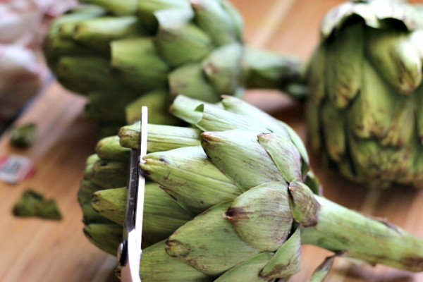 Snip artichokes leaves