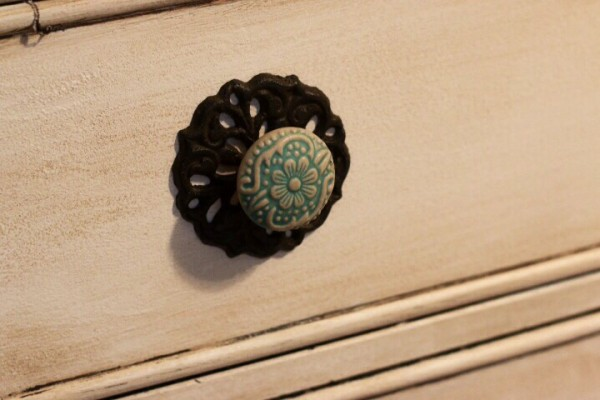 Antique knobs for distressed antique white dresser