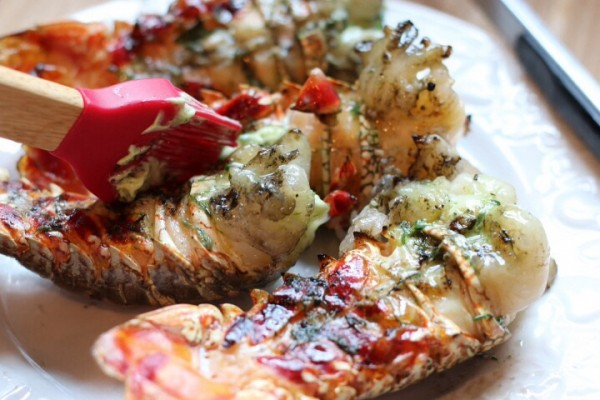 Grilled herbed butter lobster tails