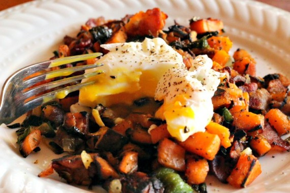 Bacon Poblano Sweet Potato Breakfast Hash