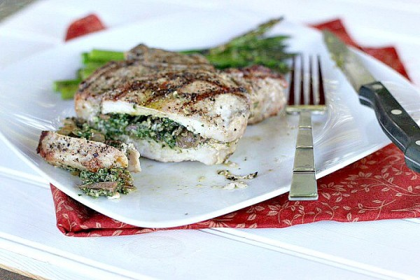 Grilled Kale Pesto and Mushroom Stuffed Porterhouse Pork Chops