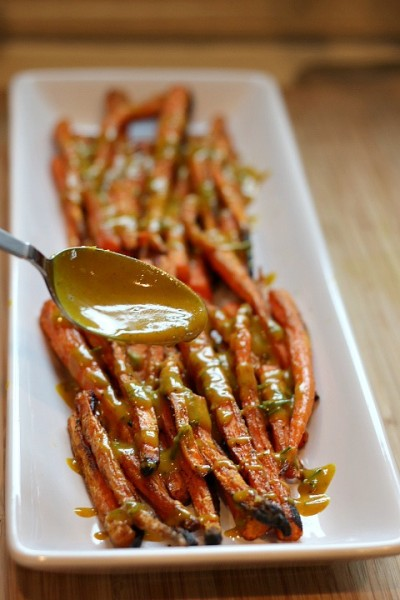 Turmeric Dressing on Roasted Carrots