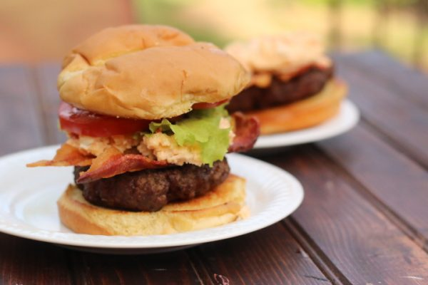 Pimento Cheese Bacon Burger single