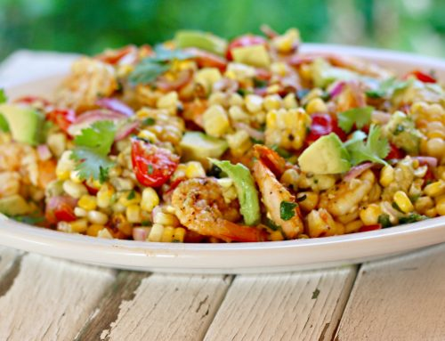 Grilled Shrimp, Tomato, Corn and Avocado Salad