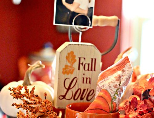 Galvanized Two Tiered Farmhouse Stand Fall Vignette