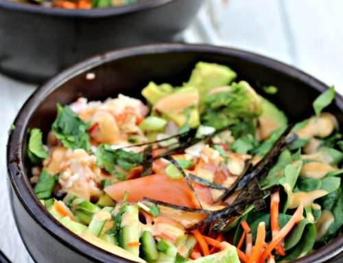 Poke Bowls with Smoked Salmon and Crab Salad
