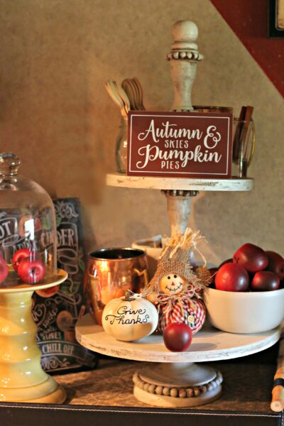 Fall farmhouse two tiered stand apples
