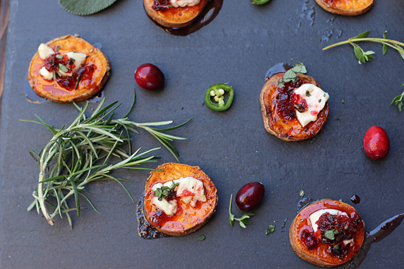 Sweet Potato Bites With Cranberry Jalapeno Hot Honey